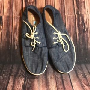 Men's Sz.12 denim Toms lace up boat shoes